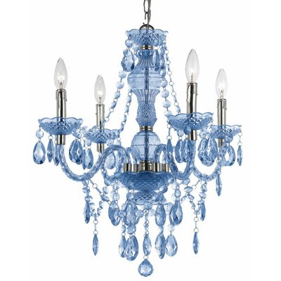 Ice Palace 4-Light Crystal Chandelier Color: Blue