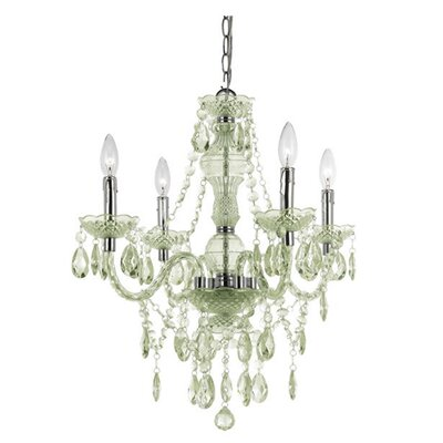 Ice Palace 4-Light Crystal Chandelier Color: Green