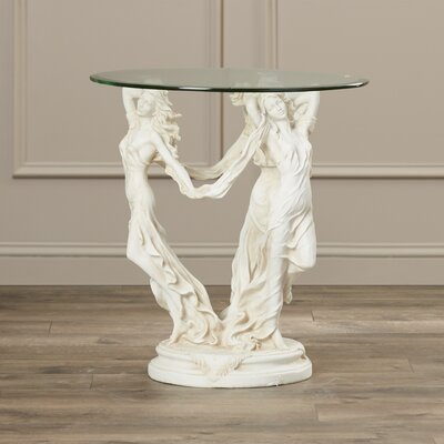 Beldin Glass Topped Sculptural End Table