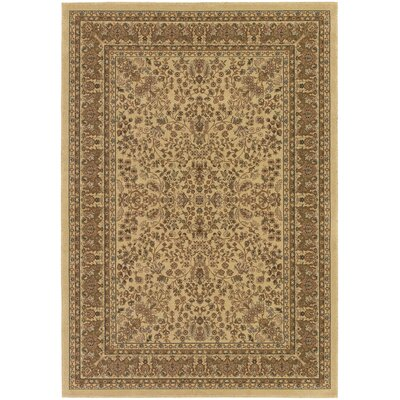 Belcourt Floral Beige/Brown Area Rug Rug Size: 53 x 76