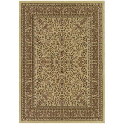 Belcourt Floral Beige/Brown Area Rug Rug Size: Rectangle 92 x 126