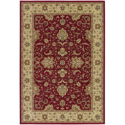 Belcourt Floral Red Area Rug Rug Size: 53 x 76