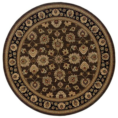 Coar Brown/Black Area Rug Rug Size: Round 9