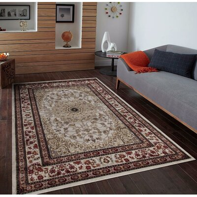 Gwinn Ivory/Brown Indoor/Outdoor Area Rug Rug Size: 5 x 7