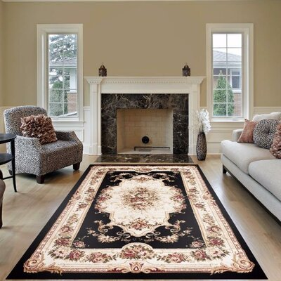 Gwinn Black/Beige Indoor/Outdoor Area Rug Rug Size: 2 x 3