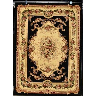 Gwinn Black/Beige Indoor/Outdoor Area Rug Rug Size: 5 x 7