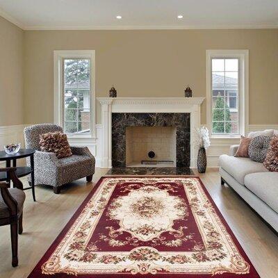 Gwinn Red/Beige Indoor/Outdoor Area Rug Rug Size: 4' x 5'