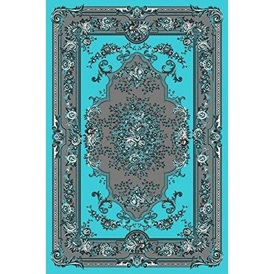 Gwinn Turquoise/Gray Indoor/Outdoor Area Rug Rug Size: 5 x 7