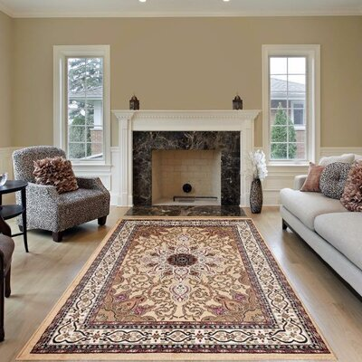 Gwinn Beige Indoor/Outdoor Area Rug Rug Size: Round 6