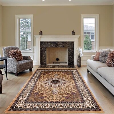 Gwinn Gold Indoor/Outdoor Area Rug Rug Size: 5 x 7
