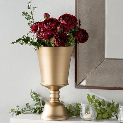 Trumpet Gold Aluminum Vase Size: 10.5 H x 6 W x 6 D