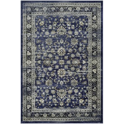 Larimore Floral Navy/Cream Area Rug Rug Size: Rectangle 92 x 125