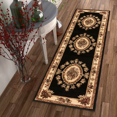 Colindale Black Area Rug Rug Size: 92 x 126