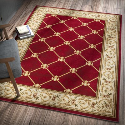 Colindale Fleur De Lis Red Area Rug Rug Size: Rectangle 23 x 311