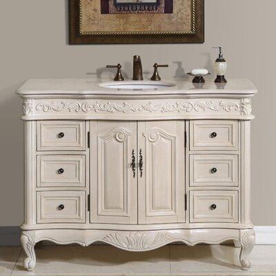 Haslett 48 Single Bathroom Vanity Set Top Finish: Cream Marfil Marble Stone