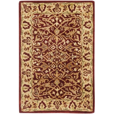 Empress Red/Light Yellow Area Rug Rug Size: 2 x 3