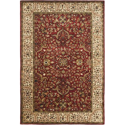 Griswold Hand-Tufted Red/Ivory Area Rug Rug Size: 96 x 136
