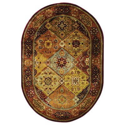 Empress Red Area Rug Rug Size: Oval 76 x 96