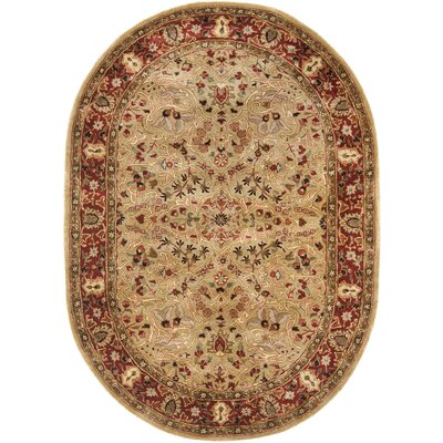 Empress Wool Red/Orange Area Rug Rug Size: Oval 76 x 96