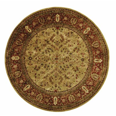 Empress Wool Red/Orange Area Rug Rug Size: Round 8