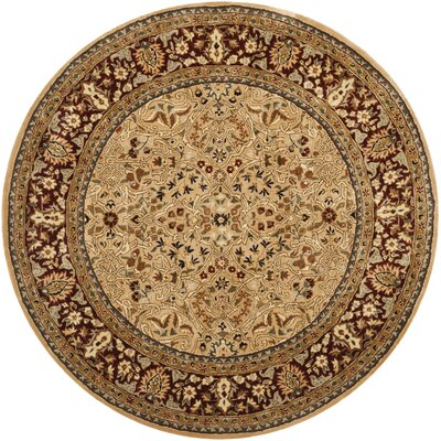 Empress Hand-Tufted Wool Gold/Red Area Rug Rug Size: Round 6