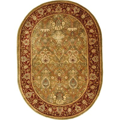 Empress Wool Rust Area Rug Rug Size: Oval 76 x 96