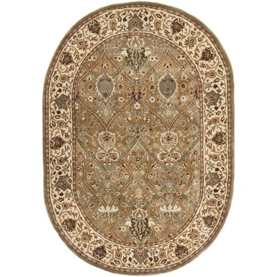 Empress Wool Beige Area Rug Rug Size: Oval 46 x 66