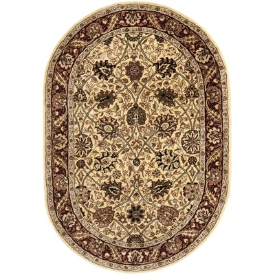 Empress Hand-Tufted Wool Red/Ivory Area Rug Rug Size: Oval 76 x 96