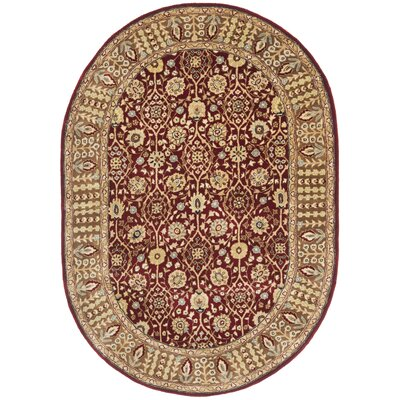Empress Red Area Rug Rug Size: Oval 46 x 66