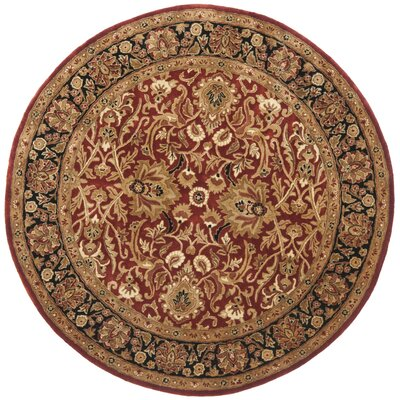 Empress Rust/Black Area Rug Rug Size: Round 8
