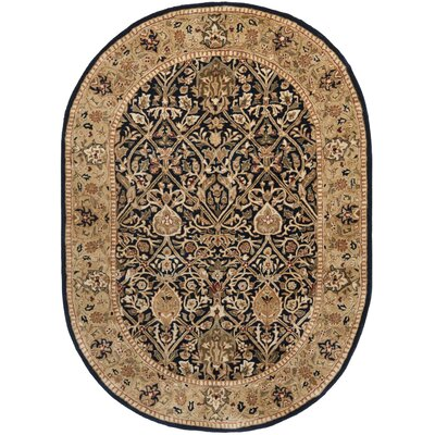 Empress Hand-Tufted Wool Black/Gold Area Rug Rug Size: Oval 46 x 66