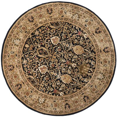 Empress Hand-Tufted Wool Black/Gold Area Rug Rug Size: Round 8