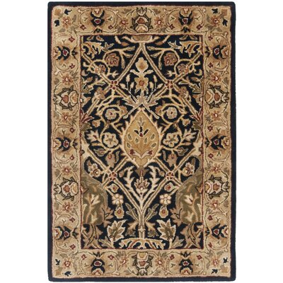 Empress Black/Light Orange Area Rug Rug Size: 2 x 3