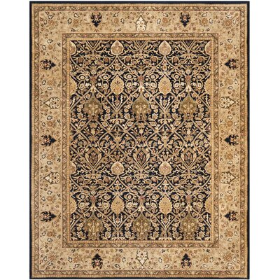 Empress Hand-Tufted Wool Black/Gold Area Rug Rug Size: Rectangle 5 x 8