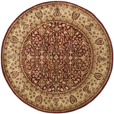 Empress Red/Light Yellow Area Rug Rug Size: Round 36