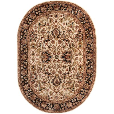 Empress Wool Black/Ivory Area Rug Rug Size: Oval 46 x 66