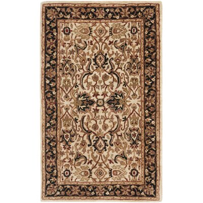 Empress Wool Black/Ivory Area Rug Rug Size: Rectangle 76 x 96