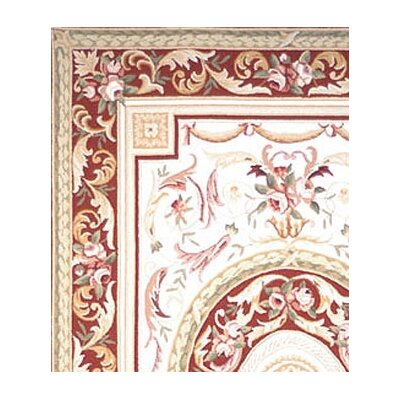 Weaver Hand-Hooked Burgundy/Ivory Area Rug Rug Size: Rectangle 46 x 66
