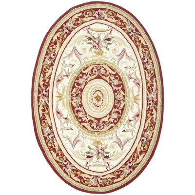 Weaver Ivory / Burgundy Rug Rug Size: 46 x 66