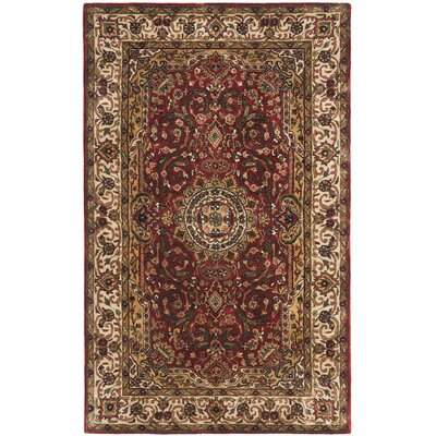 Empress Ivory/Red Area Rug Rug Size: Rectangle 4 x 6