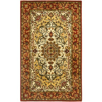 Empress Light Yellow/Rust Area Rug Rug Size: 4 x 6