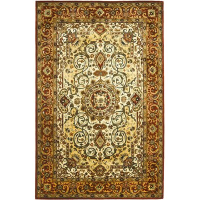 Empress Light Yellow/Rust Area Rug Rug Size: 76 x 96