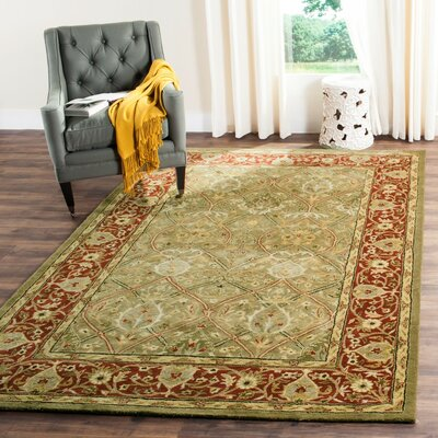 Empress Light Green/Rust Area Rug Rug Size: Rectangle 2 x 3