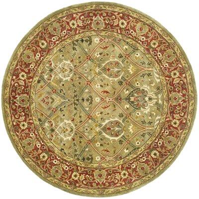 Empress Light Green/Rust Area Rug Rug Size: Round 6