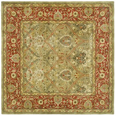 Empress Light Green & Rust Area Rug Rug Size: Square 10