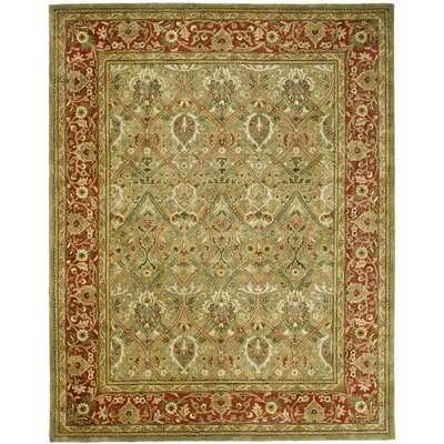 Empress Light Green & Rust Area Rug Rug Size: 6 x 9