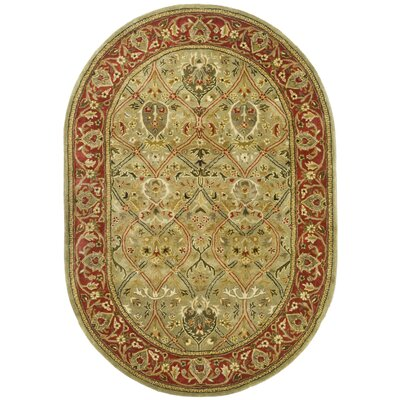 Empress Light Green & Rust Area Rug Rug Size: Oval 76 x 96