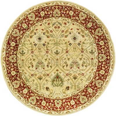 Empress Ivory/Rust Area Rug Rug Size: Round 36