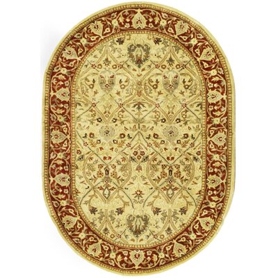 Empress Ivory/Rust Area Rug Rug Size: Oval 46 x 66