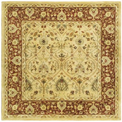 Empress Ivory/Rust Area Rug Rug Size: Square 8